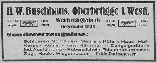 Anzeige H. W. Buschhaus (1924)